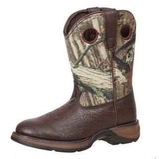 """Durango Western Boots Boys 8"""" Camo Steel Shank Brown Mossy Oak"""