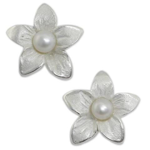 NOVICA Sterling Silver 'Blossom Pearl' Pearl Earrings (3 mm)