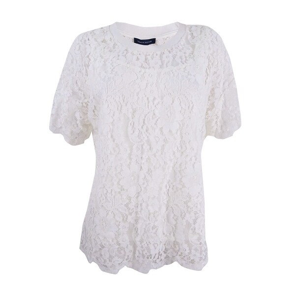 66405120d Shop Tommy Hilfiger Women's Plus Size Lace T-Shirt - Ivory - Free Shipping  Today - Overstock - 22992311