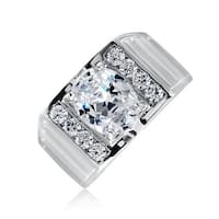 Bling Jewelry Mens Oval CZ Matte Ridges CZ Engagement Ring with Engraving Rhodium Plated Brass