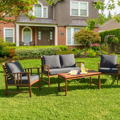 4 PCS Wooden Patio Furniture Set Outdoor Seating Chat Set