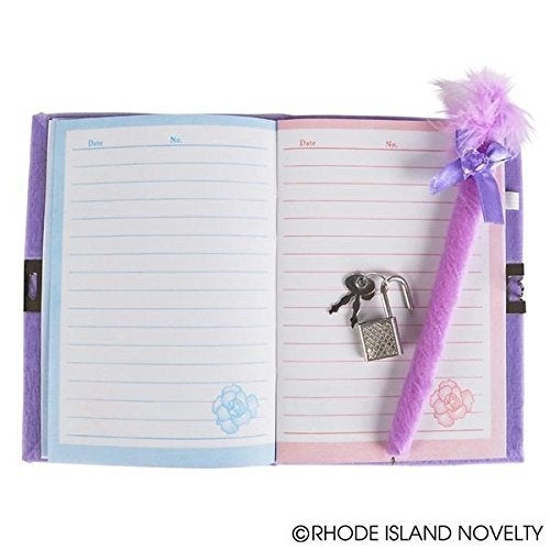 adorable diaries feature a plush cover and a heart Mirror to go along pen