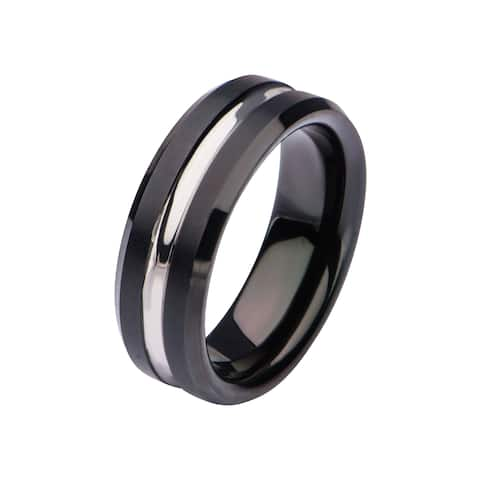 Inox Stainless Steel and Black IP Nero Ring. Available Sizes: 9 - 12