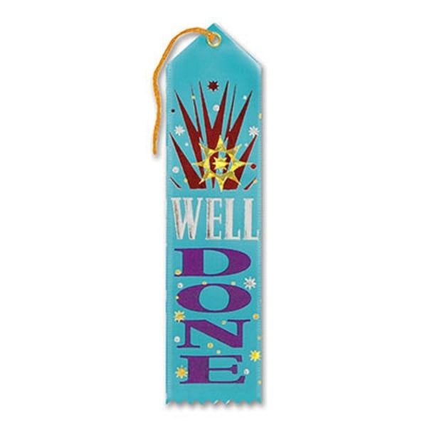 "Pack of 6 Light Blue ""Well Done Award"" School Award Ribbon Bookmarks 8"""