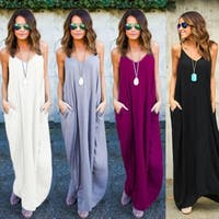 Women Boho Sexy V Neck Sleeveless Beach Dresses