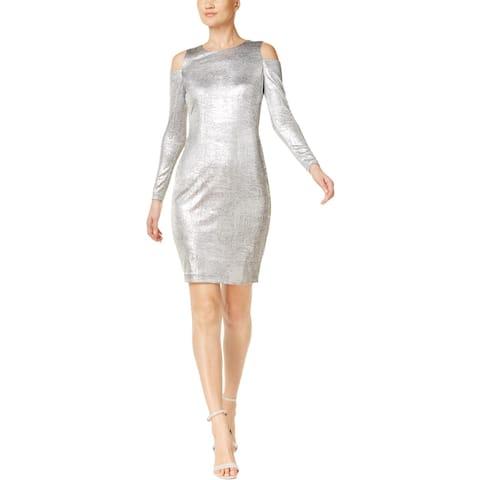 Calvin Klein Womens Petites Cocktail Dress Cold Shoulder Metallic