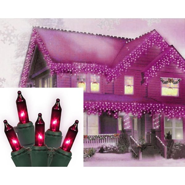 Set of 100 Pink Purple Mini Icicle Christmas Lights - Green Wire