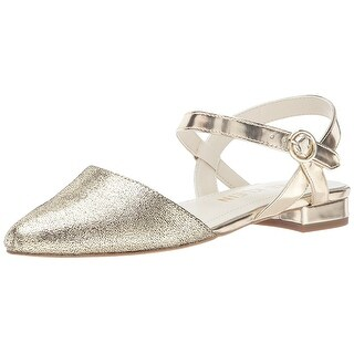 Anne Klein Womens Odell Pointed Toe Ankle Strap Ballet Flats