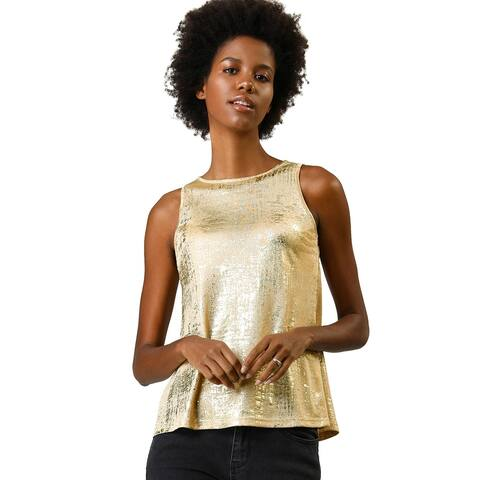 Women's Metallic Shiny Tank Top Party Club A-Line Shimmer Camisole Vest - Gold