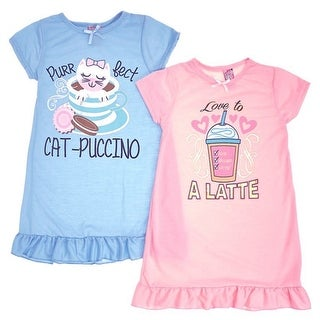 Sweet n Sassy Girls Blue Pink Breakfast Print 2 Pc Nightgown Set