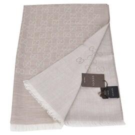 Gucci 165903 XL Camel Beige Wool Silk GG Guccissima Scarf Shawl