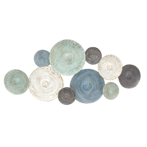 Sagebrook Home MULTI BLUE CIRCLES WALL SCULPTURE, WB