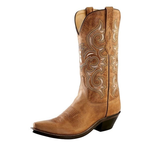 Old West Cowboy Boots Womens Snip Toe Leather Lined Tan Fry