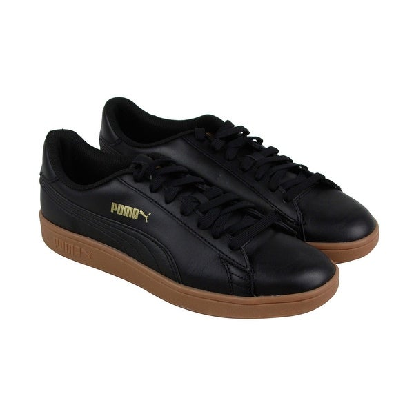 a1015c8e05b7b0 Shop Puma Smash V2 L Plus Mens Black Leather Lace Up Sneakers Shoes ...