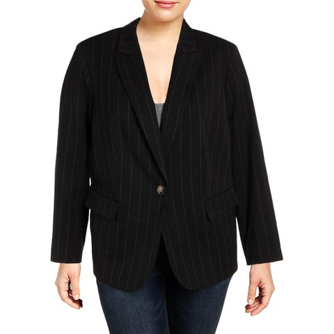 Tahari ASL Womens Plus One-Button Blazer Pinstripe Office