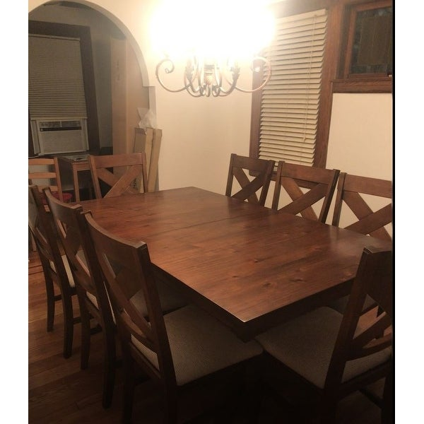 Shop 9 Piece Solid Wood Dining Set With Table And 8 Chairs   Free Shipping  Today   Overstock.com   11691458