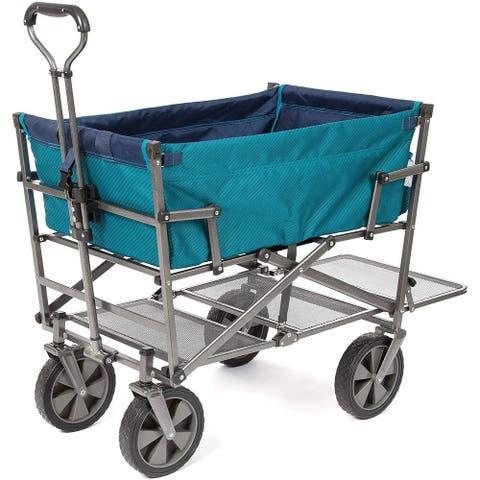 Heavy Duty Steel Double Decker Collapsible Yard Cart Wagon - Teal