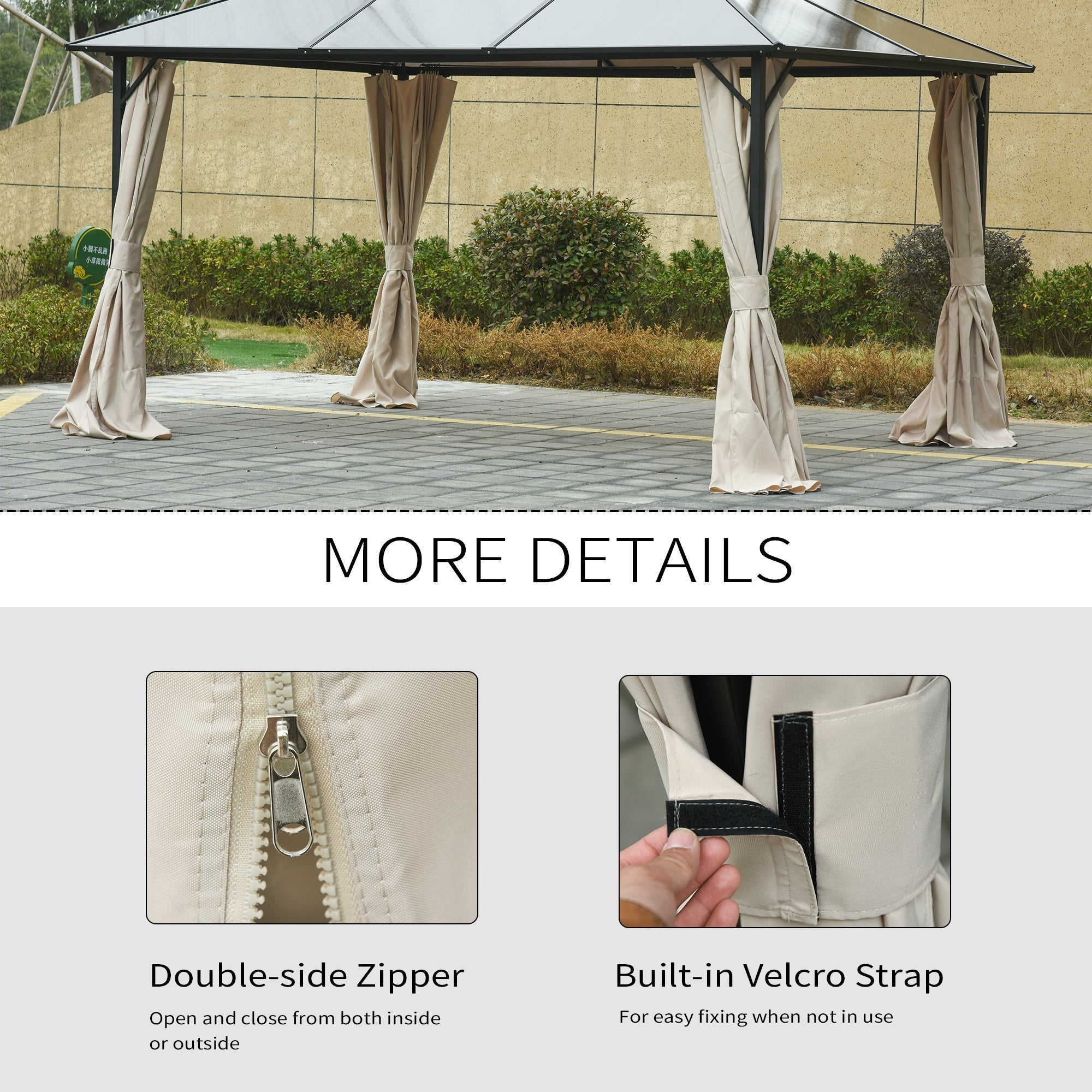 Outsunny 10 x 12 Universal Gazebo Sidewall Set with 4 Panels Hooks//C-Rings Included for Pergolas /& Cabanas Beige