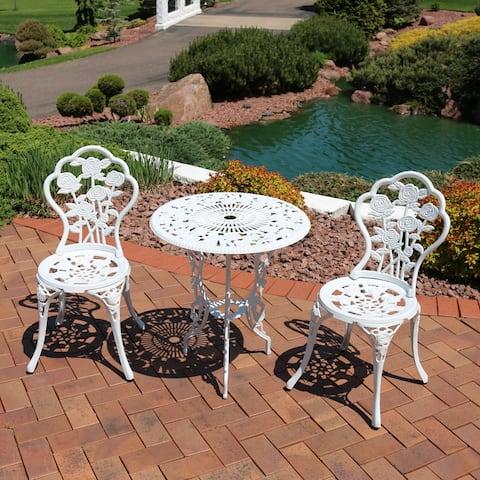 Sunnydaze 3-Piece White Flower Designed Cast Aluminum Patio Furniture Bistro Set
