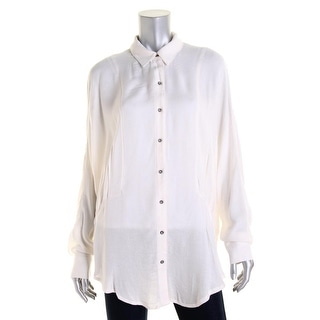 Free People Womens Textured Long Sleeves Button-Down Top - L