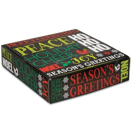 """Pack Of 6, 12 X 12 X 3"""" Holiday Greetings Chalkboard Boxes Auto Lock Boxes 1-Piece W/Fold-Over Lid"""