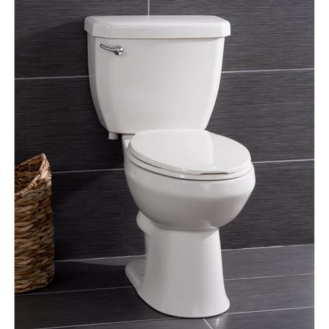 Miseno MNO1503C High Efficiency 1.28 GPF Two-Piece Elongated Chair Height Toilet with Seat and Wax Ring Included