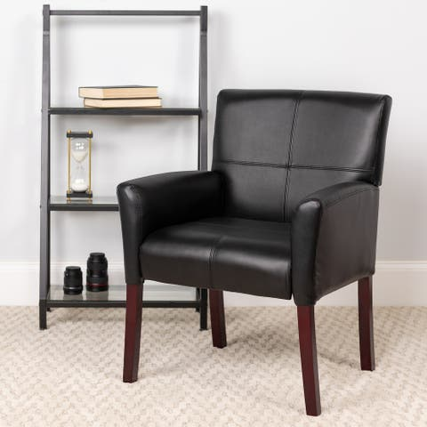 Copper Grove Neys Black Leather Side Chair with Mahogany Legs