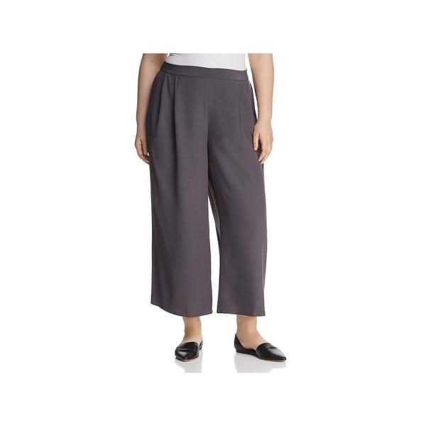 ae66c4cec41 Shop Eileen Fisher Womens Plus Wide Leg Pants Crepe Elastic Waist ...