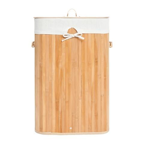 Single Lattice Bamboo Folding Laundry Basket Body with Cover