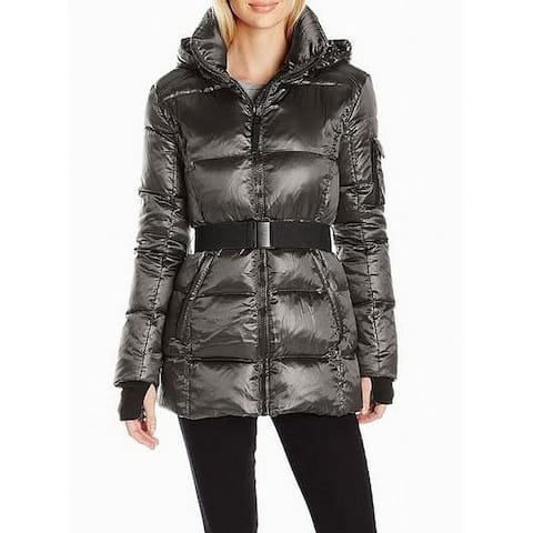 S13 Gunmetal Womens Large Puffer Belted Powder Jacket