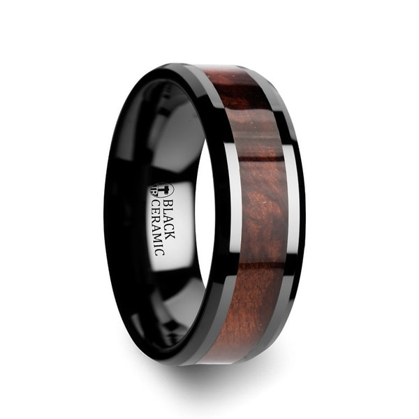 Cerise Redwood Inlaid Black Ceramic Ring With Beveled Edges