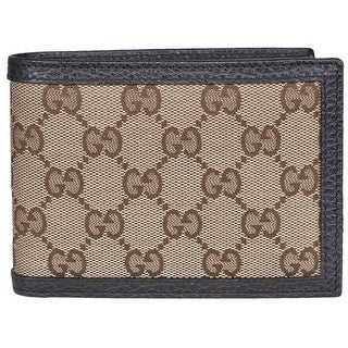 "Gucci 278596 Men's Beige Canvas Brown Leather GG Guccissima Bifold Wallet - 5"" x 3.75"""