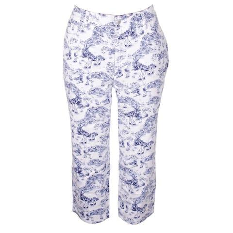 Charter Club Plus Size Blue White Paisley-Print Tummy-Control Bristol Pants