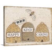 Deb Strain Premium Thick-Wrap Canvas entitled Bee Happy - Multi-color