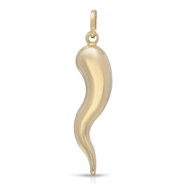Mcs Jewelry Inc 14 KARAT YELLOW GOLD ITALIAN HORN GOOD LUCK PENDANT (1.5 Inches)