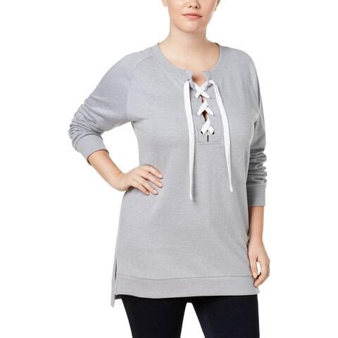Derek Heart Womens Plus Sweatshirt Ribbed Trim Lace-Up
