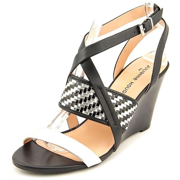 Julianne Hough Sadee Women Open Toe Leather Black Wedge Sandal