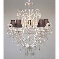 Swarovski Crystal Trimmed Chandelier Lighting Wrought Iron & Crystal Chandelier Lighting & Black Shades