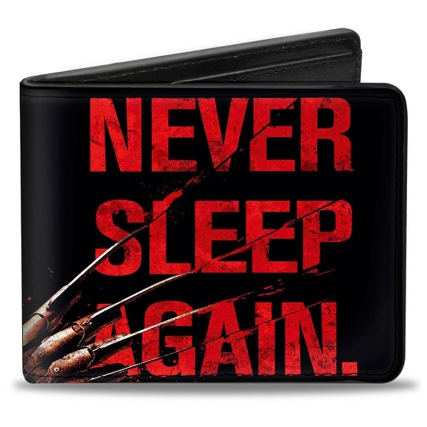 Freddy's Hand Never Sleep Again + A Nightmare On Elm Street Black Red Bi Bi-Fold Wallet - One Size Fits most