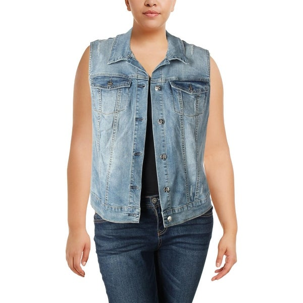 ac80c6ae12 Shop Jessica Simpson Womens Plus Pixie Denim Vest Distressed Button Down -  Free Shipping On Orders Over  45 - Overstock.com - 23090644