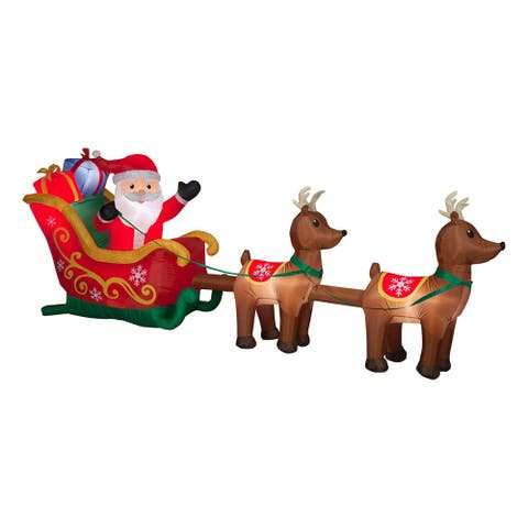 12.5' Red and Brown Inflatable Santa in Sleigh with Reindeer Outdoor Christmas Decor