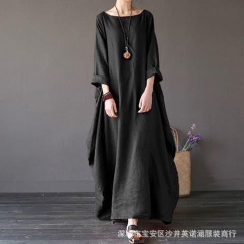2019 New Loose Round Neck Sleeves Irregular Large Swing Dress