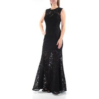 Womens Black Sleeveless Full Length Mermaid Formal Dress Size: 4
