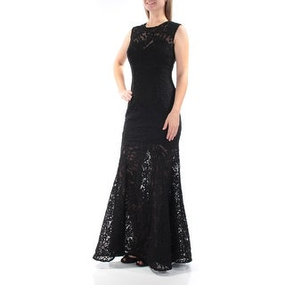 BETSY & ADAM $269 Womens 2295 Black Embroidered Lace Formal Dress 2 B+B