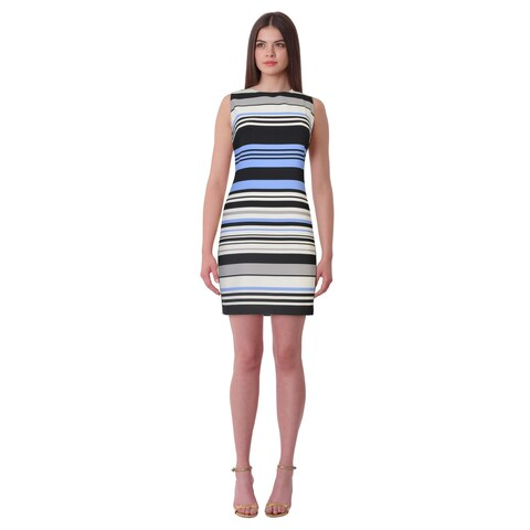Lauren Ralph Lauren Petite Albina Striped Shift Dress Blue/Black Multi - 14P