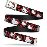Hello Kitty Face Fcg White  Chrome Hello Kitty Multi Face W Mini Dots Web Belt