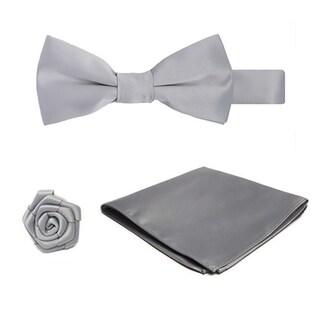 Boys Pretied Banded Bowtie Hanky Open Rose Lapel Flower 3 pc Set (Option: Silver)