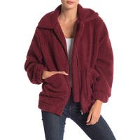 Elodie Red Faux Shearling Women's Size Large L Full-Zip Jacket