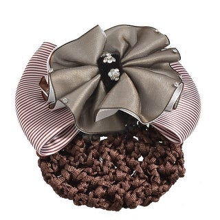 Unique Bargains Women Coffee Color White Striped Bowtie Decor Barrette Hair Clip Snood Net