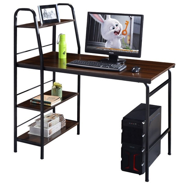 Cosway 48u0026#x27;u0026#x27; Multi Function Computer Desk 4 Tier